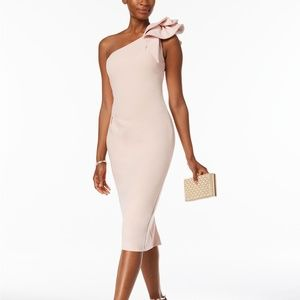 Betsy & Adam One-Shoulder Sheath Dress Blush